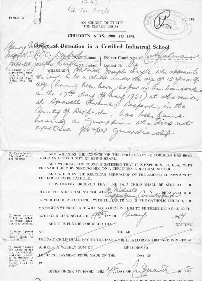 Paddy Doyle's Order of Detention